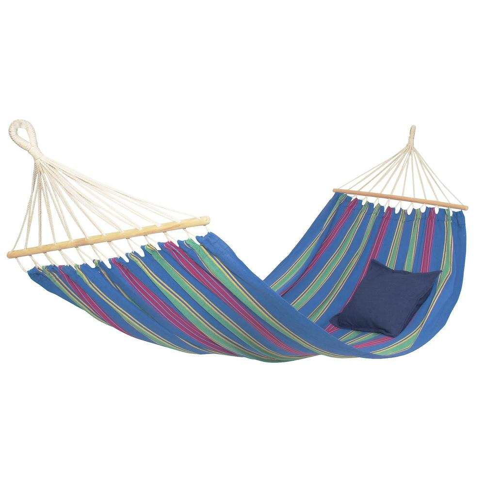 poly cotton hammock blue vivere 9 ft  double cotton hammock with stand in tropical uhsdo9      rh   homedepot