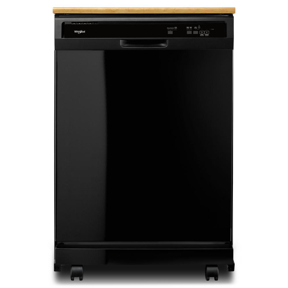 Front Control Heavy-Duty Portable Dishwasher in Black with 1 Hour Wash  Cycle and 12-Place Settings, 64 dBA