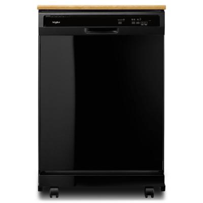 24 in. Black Front Control Heavy-Duty Portable Dishwasher with 1 Hour Wash Cycle and 12-Place Settings, 64 dBA