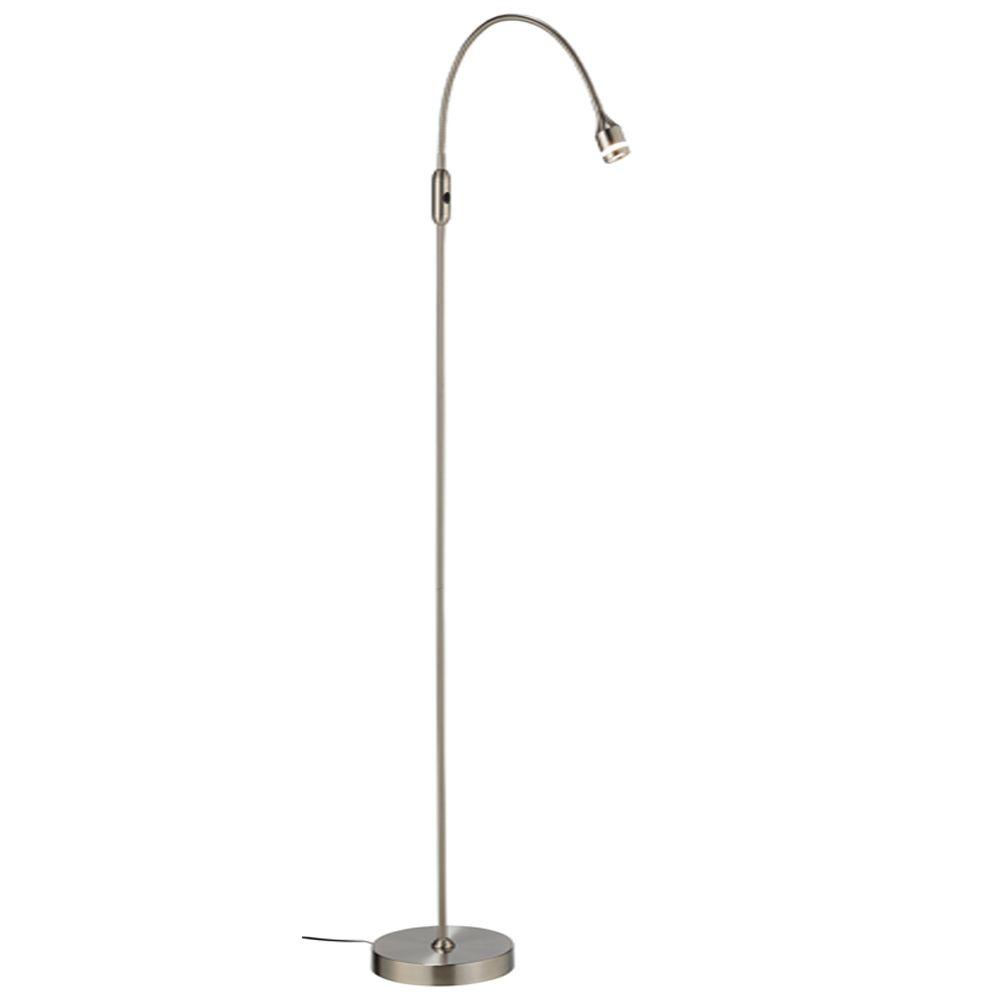 Brushed nickel floor lamps lamps the home depot satin steel led floor lamp mozeypictures Images