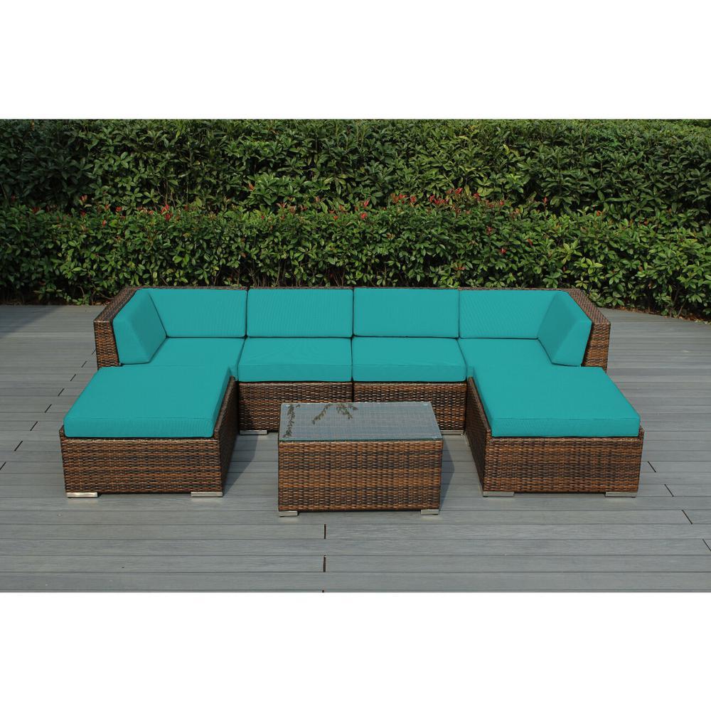 Ohana Mixed Brown 7-Piece Wicker Patio Seating Set with Sunbrella Aruba Cushions