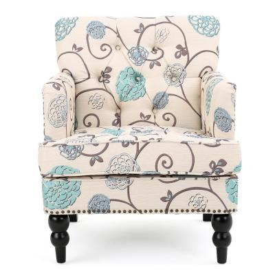 Harrison White and Blue Floral Fabric Tufted Club Chair