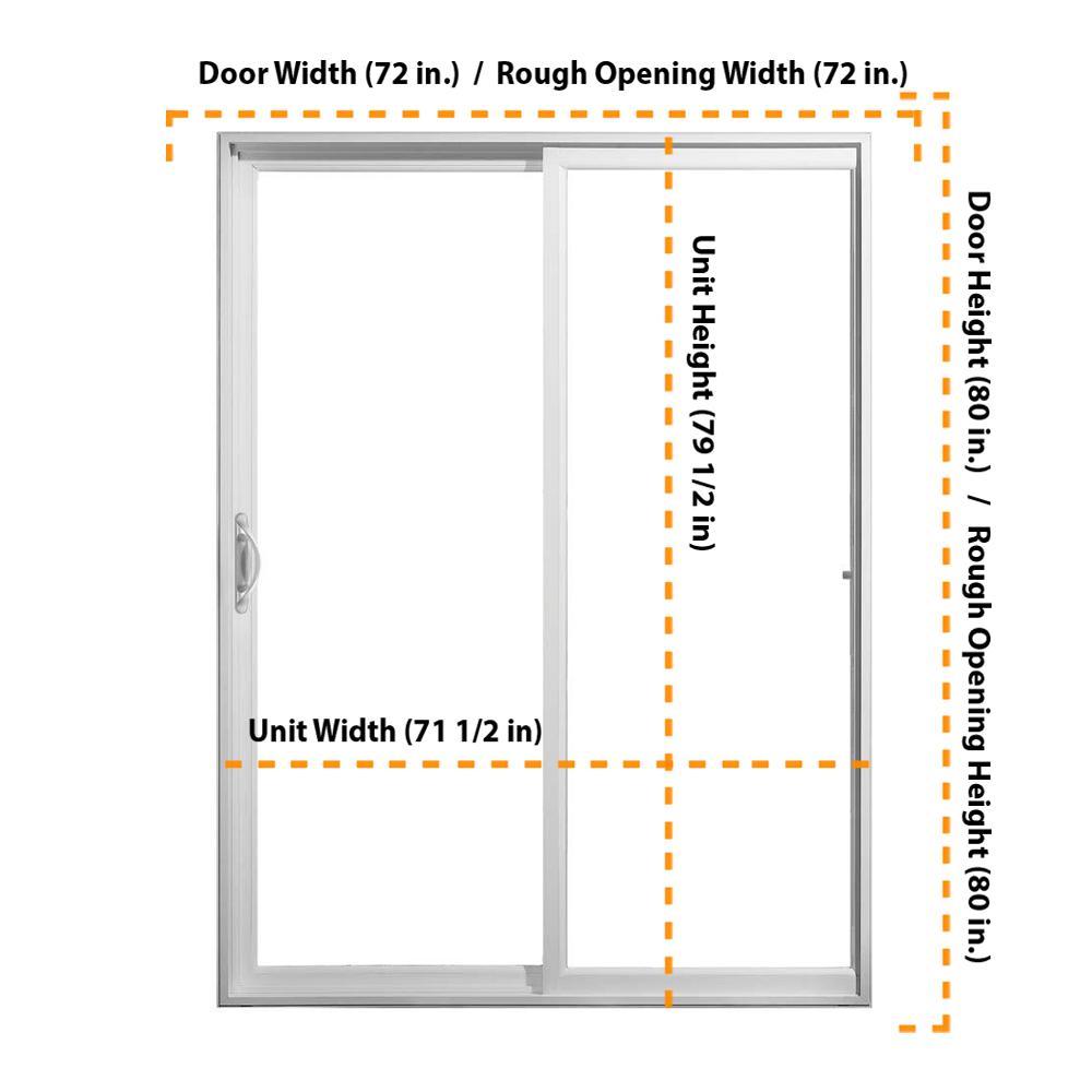 Jeld Wen 72 In X 80 In V 2500 White Vinyl Left Hand Full Lite Sliding Patio Door 8b6768 The Home Depot