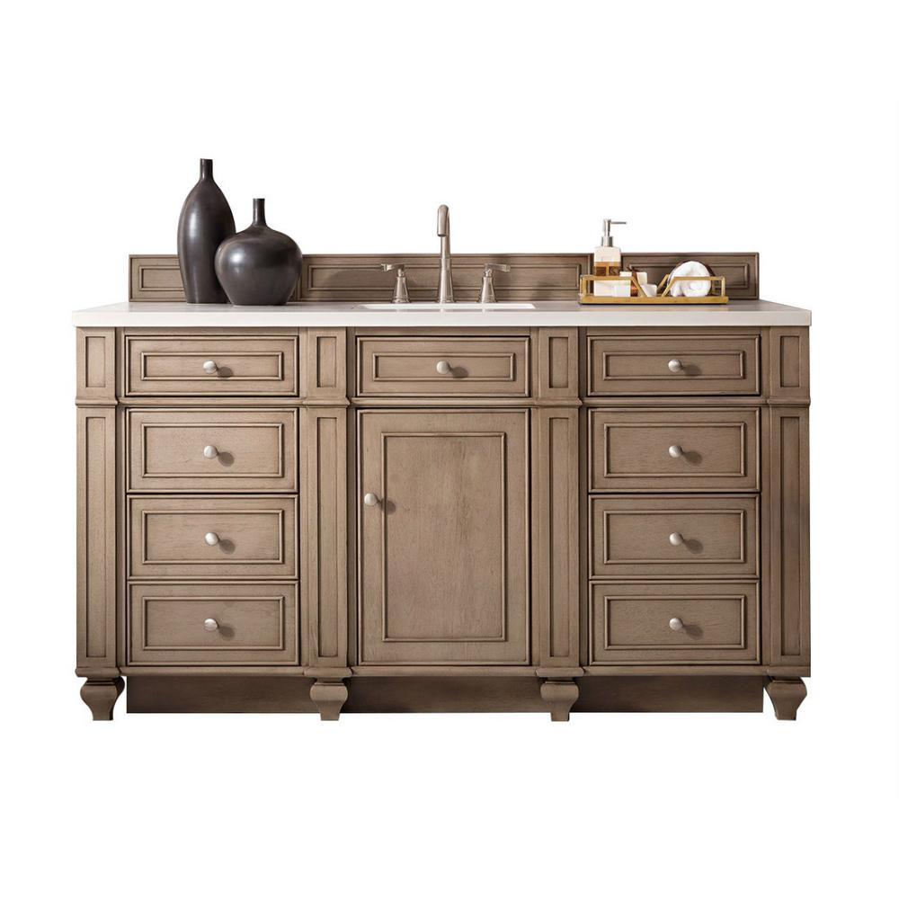 James Martin Vanities Bristol 60 in. W Single Bath Vanity in Whitewashed Walnut with Solid Surface Vanity Top in Arctic Fall with White Basin