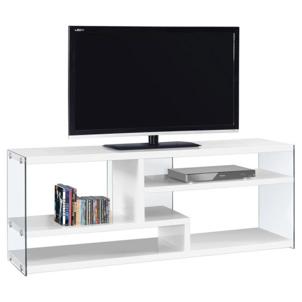 61 in. WHITE Particle Board TV Stand Fits TVs Up to 60 in. with Open Storage