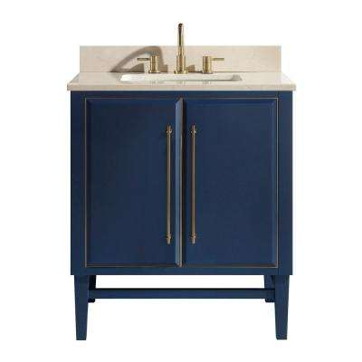 Mason 31 in. W x 22 in. D Bath Vanity in Navy Blue/Gold Trim with Marble Vanity Top in Crema Marfil with White Basin