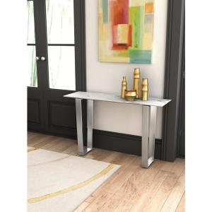 Zuo Atlas Stone And Brushed Stainless Steel Console Table