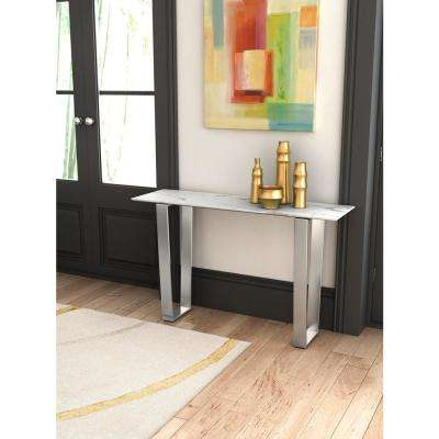 Atlas Stone and Brushed Stainless Steel Console Table
