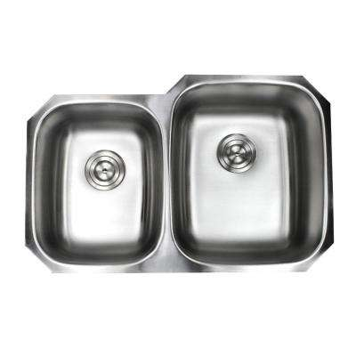 Undermount 16-Gauge Stainless Steel 32 in. x 20-3/4 in. x 9 in. 40/60 Offset Double Bowl Kitchen Sink