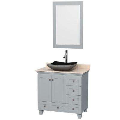 Acclaim 36 in. W x 22 in. D Vanity in Oyster Gray with Marble Vanity Top in Ivory with Black Basin and 24 in. Mirror