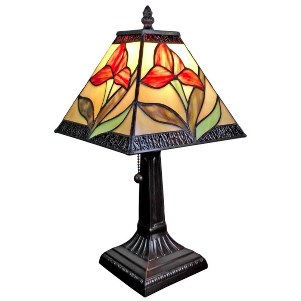 14.5 in. Tiffany Style Floral Mini Table Lamp