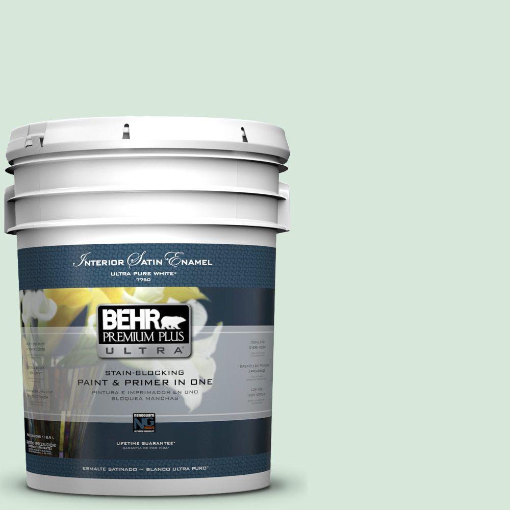 BEHR Premium Plus Ultra 5-gal. #M410-1 Jade Mist Satin Enamel Interior Paint