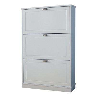 46 in. x 30 in. 15-Pair Shoe Storage Cabinet with 3 Drawers in White Finish