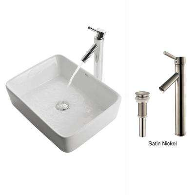 Square Ceramic Vessel Sink in White with Sheven Faucet in Satin Nickel