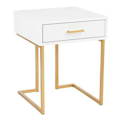 Midas Contemporary-Glam Side Table in Gold Metal and White Wood