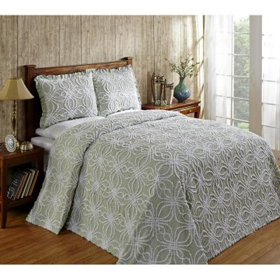 Rosa 96 in. x 110 in. Sage Full Double Bedspread