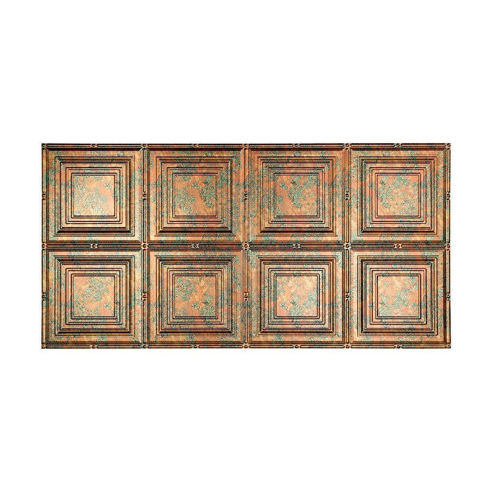Portrait 2 ft. x 4 ft. Glue-up Ceiling Tile in Copper Fantasy