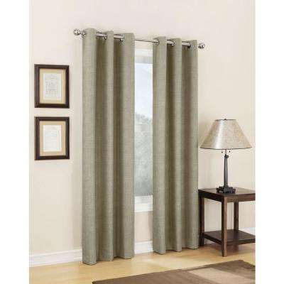 Semi-Opaque Linen Tom Thermal Lined Curtain Panel, 40 in. W x 63 in. L