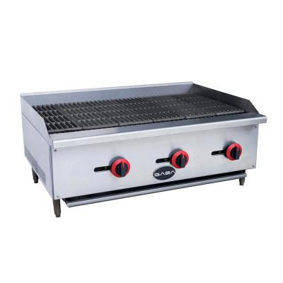 36 in. Gas Cooktop Charbroiler in Stainless Steel with 3 Burners