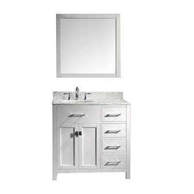 Caroline Parkway 36 in. W x 36 in. H Vanity with Marble Vanity Top in Carrara White with White Round Basin and Mirror