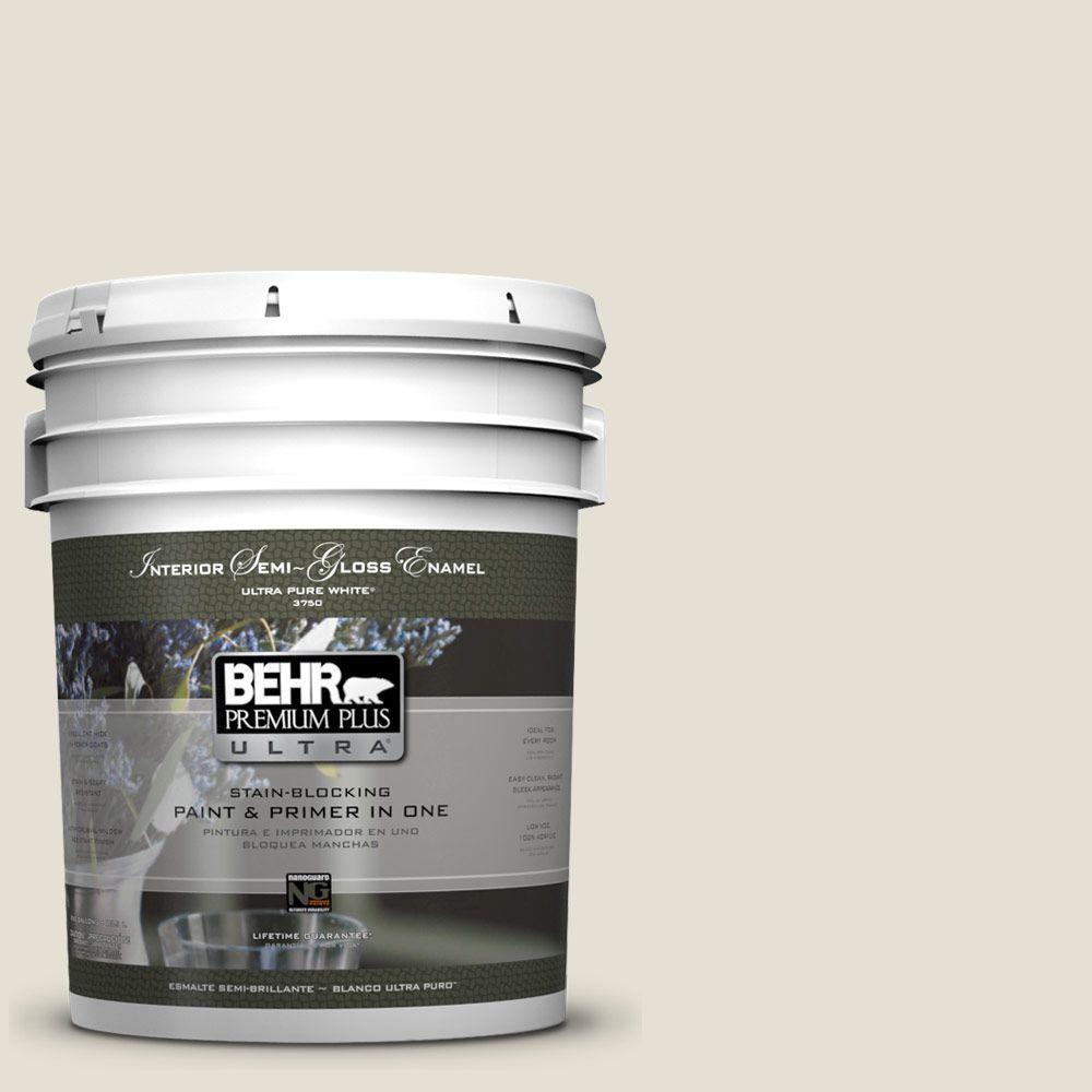 BEHR Premium Plus Ultra 5 gal. #73 Off White Semi-Gloss Enamel Interior Paint