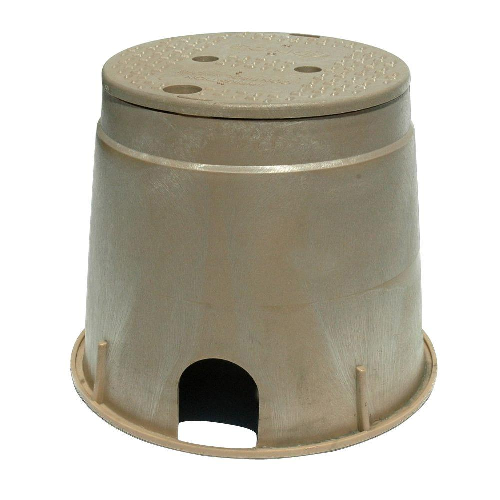 10 In Round Valve Box With Icv Overlapping Cover Sand