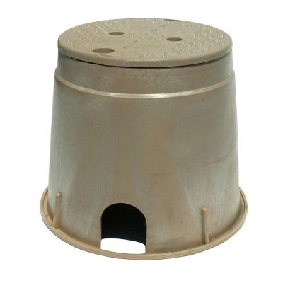 10 in. Round Valve Box with ICV Overlapping Cover in Sand