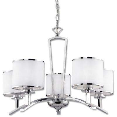 Concord Collection 5-Light Chrome Chandelier with White Fabric Shade