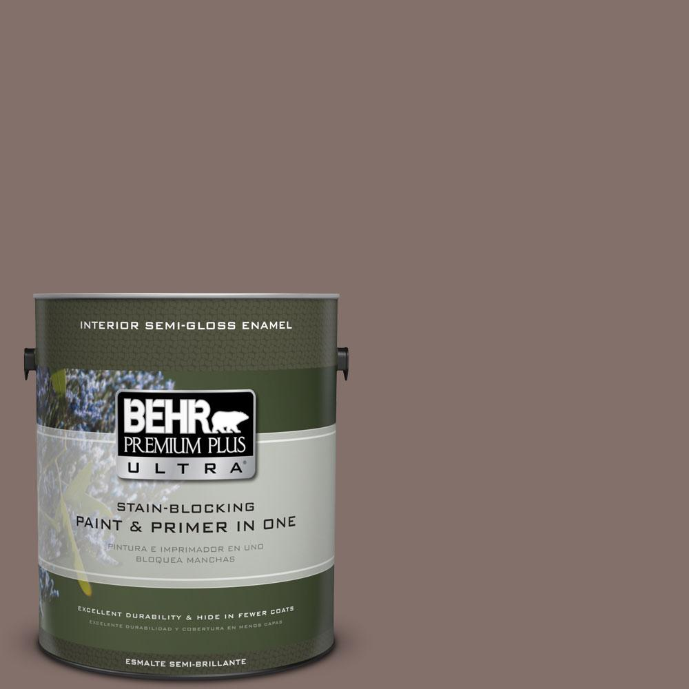 BEHR Premium Plus Ultra 1-gal. #740B-5 Bradford Brown Semi-Gloss Enamel Interior Paint