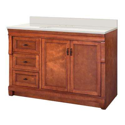 Naples 49 in. W x 22 in. D Vanity in Warm Cinnamon with Engineered Marble Vanity Top in Winter White with White Sink