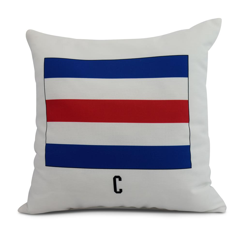 C Letter Simple Outlined 26 In Red Decorative Nautical Throw Pillow