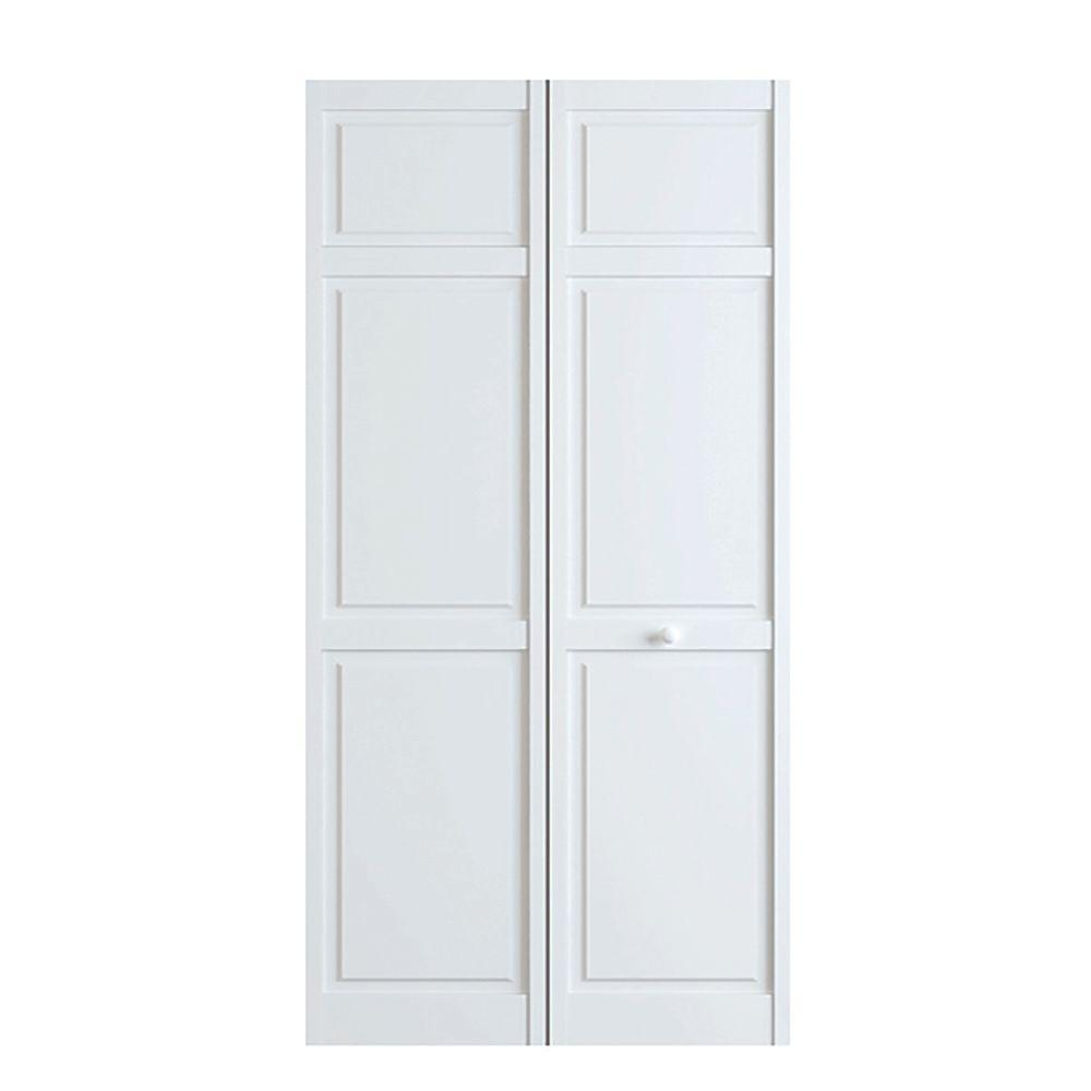 Kimberly bay 24 in x 80 in white 6 panel solid core wood interior closet bi fold door Solid wood six panel interior doors