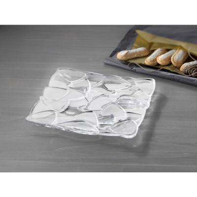 Petals 11 in. Crystal Decorative Square Plate in Clear