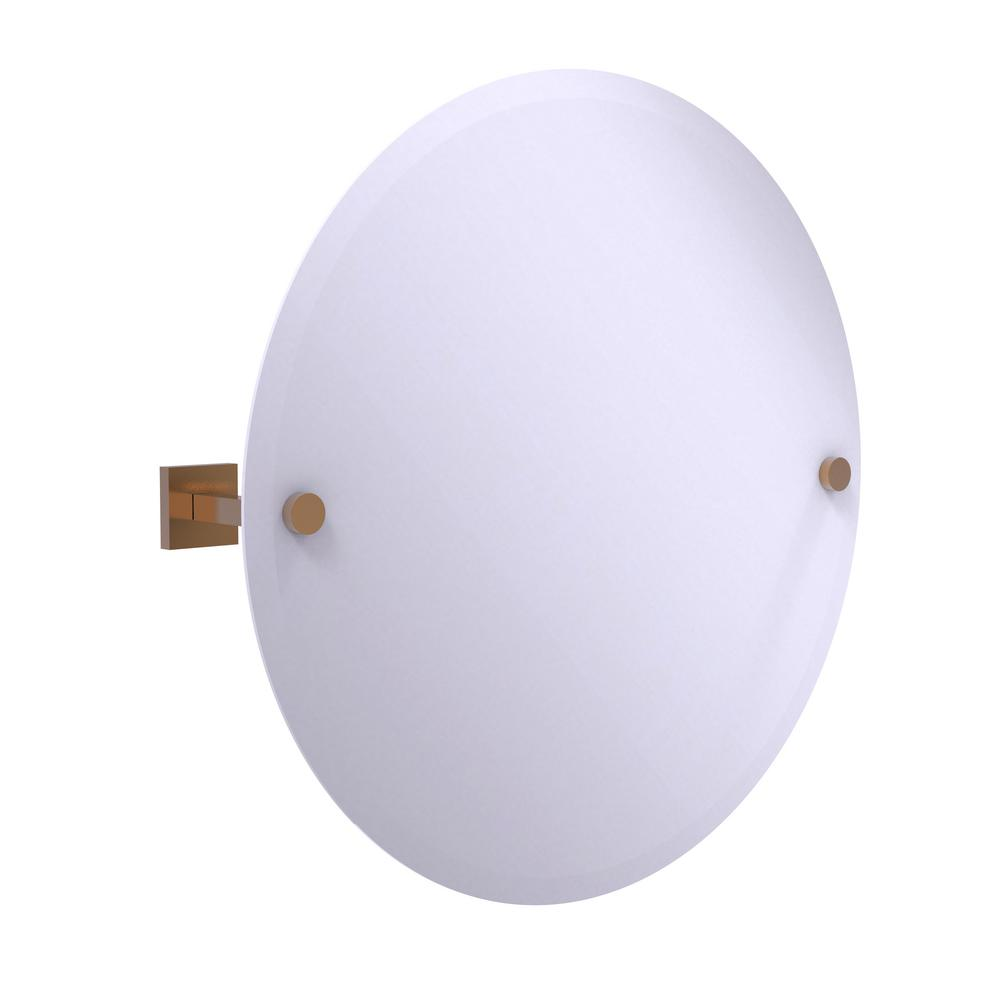 Montero Collection Contemporary Frameless Round Tilt Mirror with Beveled Edge in