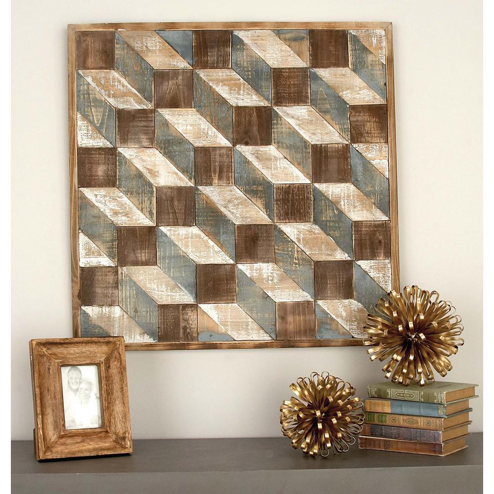 Geometric Cuboids Wooden Wall Art