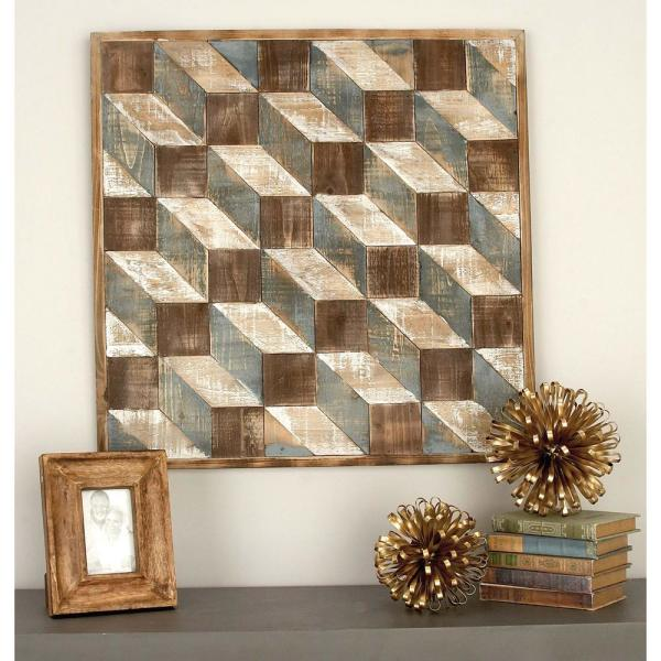 Geometric Cuboids Wooden Wall Art