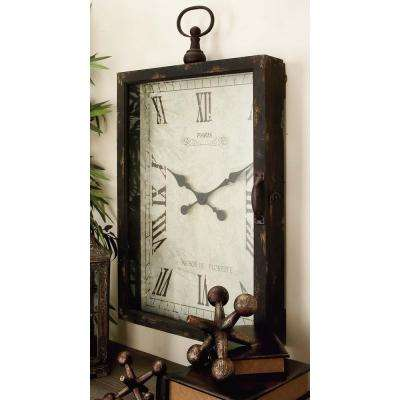 35 in. x 20 in. Traditional Rustic Wood and Glass Wall Clock