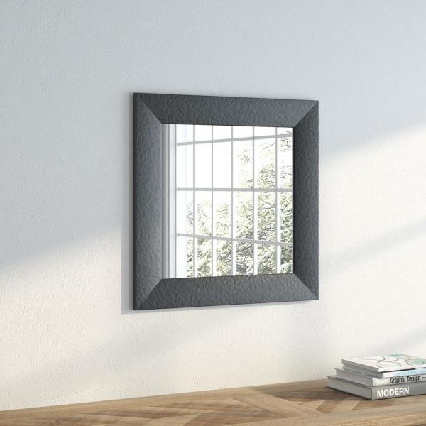22 in. x 22 in. Black Wide Leather Square Vanity Wall