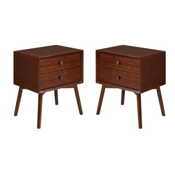Mid-Century 2-Drawer Solid Wood Walnut Nightstand (2-Pack)