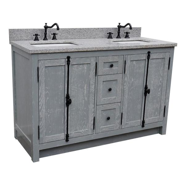 Bellaterra Home Plantation 55 In W X 22 In D Double Bath Vanity In Gray With Granite Vanity Top In Gray With White Rectangle Basins Bt100 55 Gya Gy The Home Depot