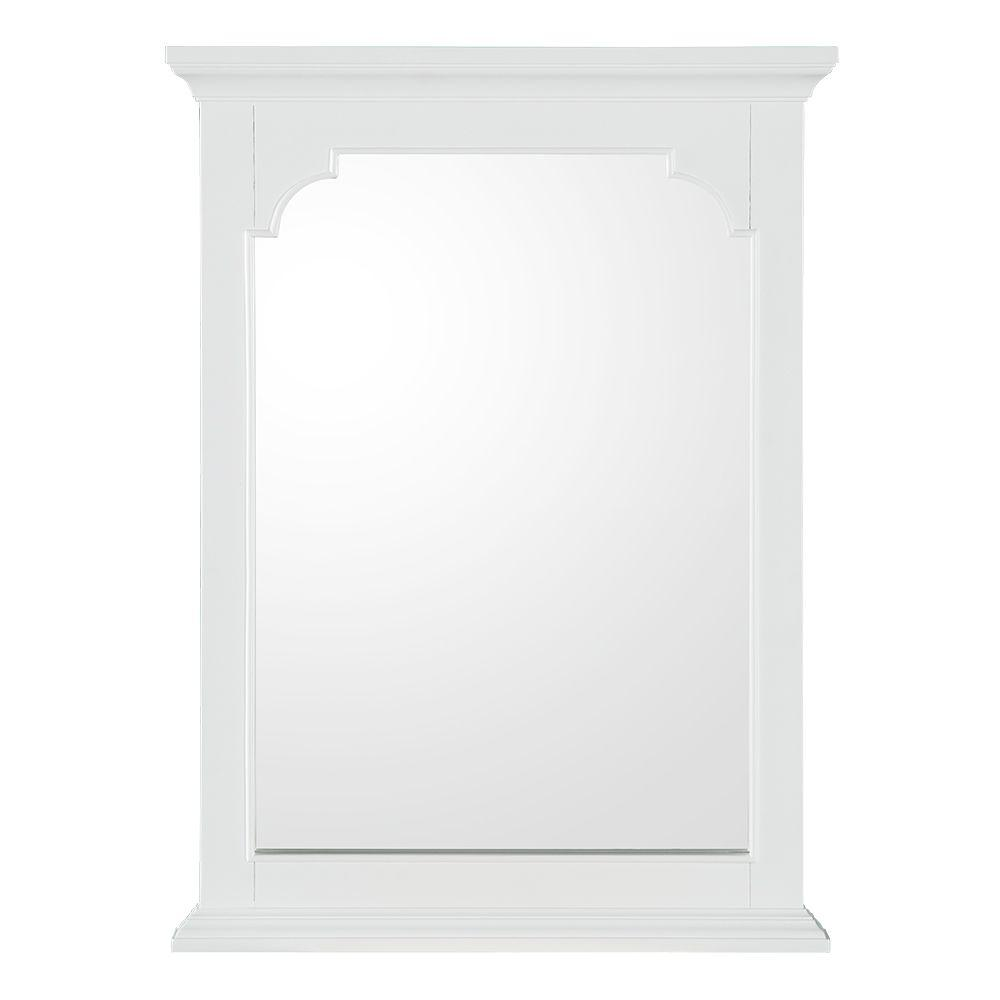 Home decorators collection hayward 22 in w x 30 in h single framed wall hung mirror in white Home rental furniture hayward
