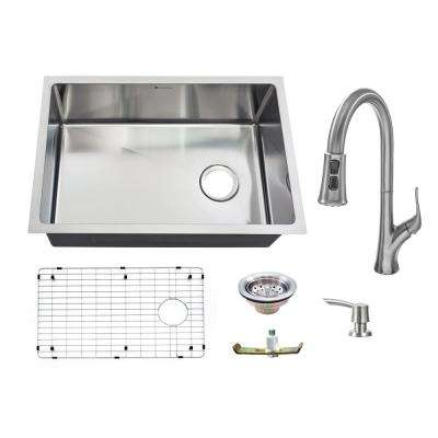 All-in-One Undermount 18-Guage Stainless Steel 27 in. Single Bowl Kitchen Sink w/ Pull Down Faucet in Brushed