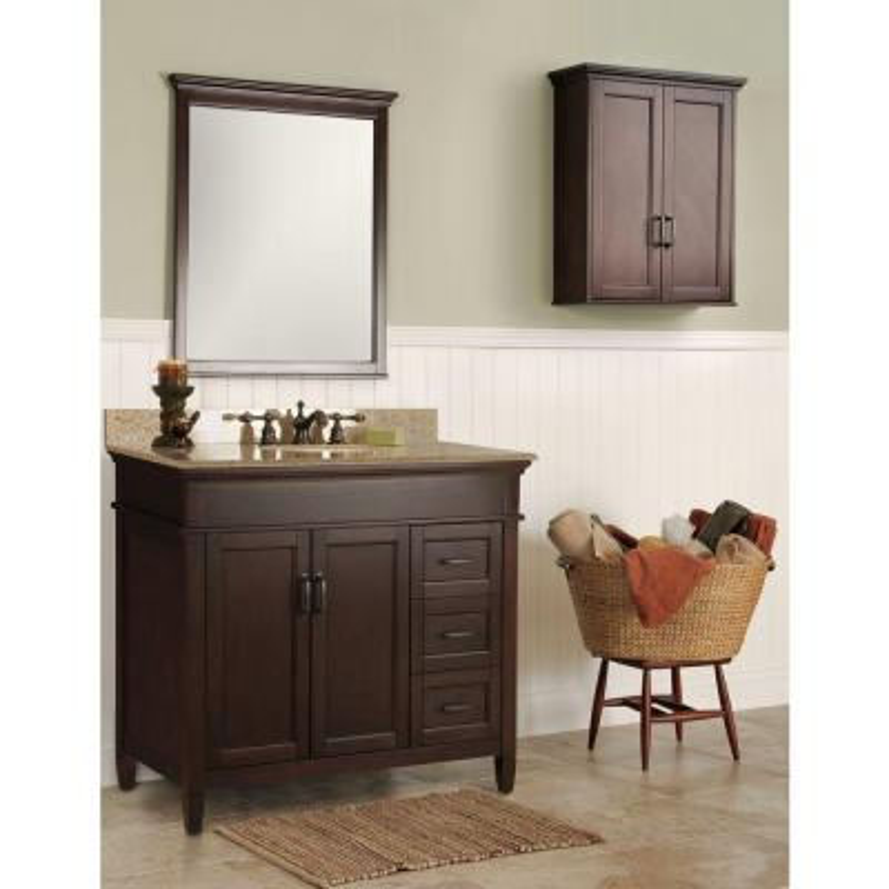 Ashburn 37 in. W x 22 in. Bath Vanity in Mahogany with Granite Vanity Topin Beige with White Sink