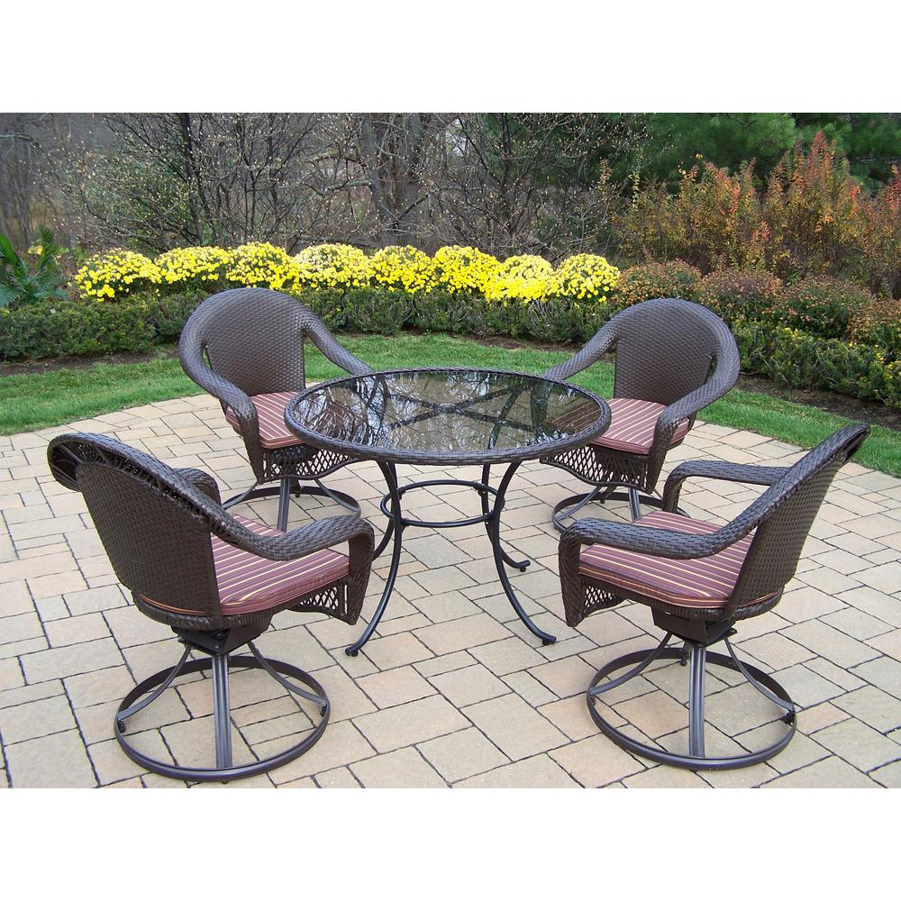 Elite 5-Piece Wicker Outdoor Dining Set with Brown Stripe Cushions