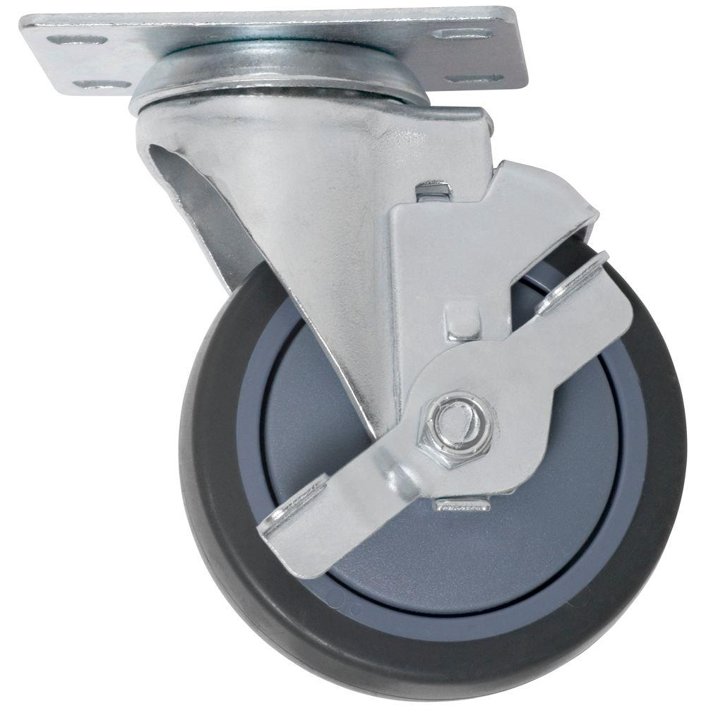 Everbilt 5 in. Swivel with Brake Non-Marking Rubber Caster