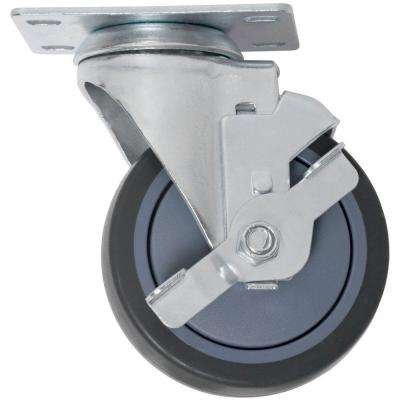 5 in. Swivel with Brake Non-Marking Rubber Caster