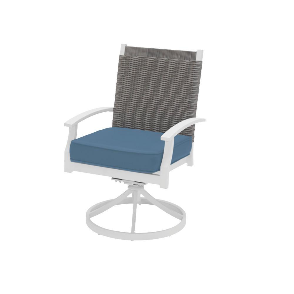 Jasper Ridge White Galvanized Steel w/ Wicker Back Swivel Captain Outdoor Dining Chair w/ Blue Standard Cushion (2-Pack)