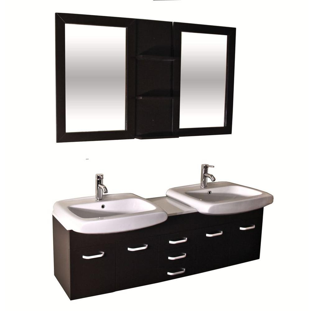 Kokols Accent Series 60 in. Double Vanity in Espresso with Ceramic Vanity Top in White and Mirror