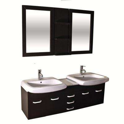 Accent Series 60 in. Double Vanity in Espresso with Ceramic Vanity Top in White and Mirror