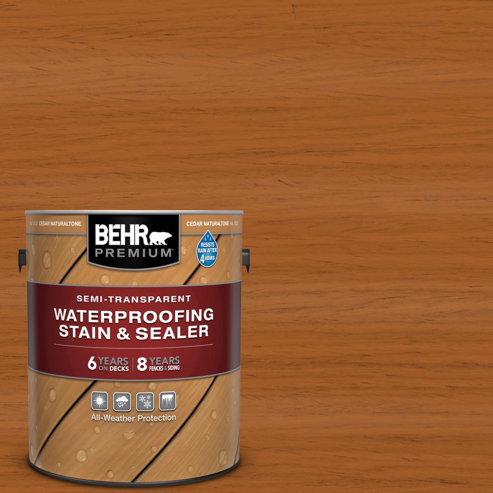 BEHR Premium 1 gal. #ST-533 Cedar Naturaltone Semi-Transparent Waterproofing Exterior Wood Stain and Sealer